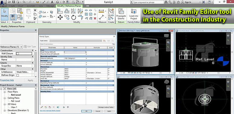 Use of Revit Family Editor tool in the Construction Industry